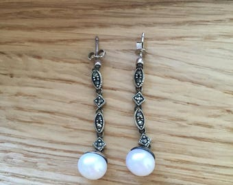 Art deco Style Silver Marcasite and Pearl Drop Earrings