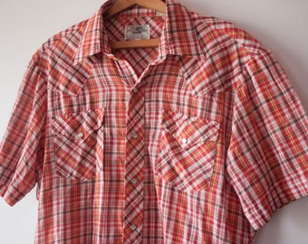 Vintage Button Down Plaid Shirt / Plaid Shirt Men / Button Down Shirt / Western Clothing / 1960s Clothing / Vintage Shirt