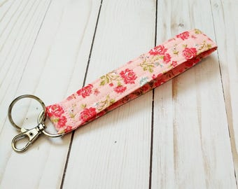 Pink Rose Bouquet Wristlet Key Fob / Cotton / Quilted Keychain / Handmade