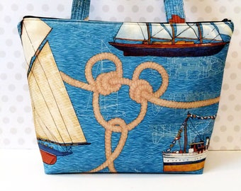 Nautical Hidden Mickey Large Tote Bag / Zipper Closure / Polyester Fabric
