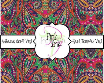 Beautiful Vera Bradley Inspired Paisley Craft Vinyl and Heat Transfer Vinyl Pattern 267