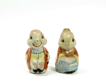 Mr and Misses Rabbit Porcelain Salt and Pepper Shakers Made in Japan