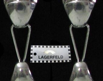 Vintage silver metal clips K.LAGARFELD earrings