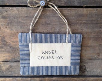 Angel Collector Mini Quilt. Angel Quilt. Angel Wall Hanging. Mini Wall Hanging. Angel Wall Decor. Angel Decor. Hand-written. Hand-stitched.