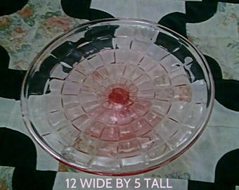 Big Pink Pedestal Cake Plate 12 inches across  5 inches tall