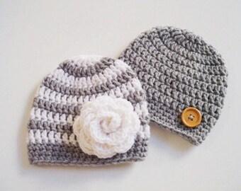 Newborn twin hats Twin girl boy hats Crochet twins newborn hat Newborn girl hat Newborn boy hat Baby boy girl beanie Personalized baby hat