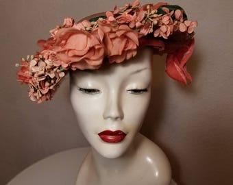 FREE  SHIPPING  1940 Flower Veil Hat