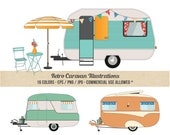 Caravan Clipart - Camper Clipart - Commercial Use - Detailed Retro Caravans - Beach - Pop top
