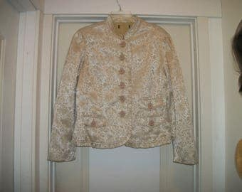 Retro 90s Does a Creamy Embossed EDWARDIAN  STEAMPUNK Style ROMANTIC Ruffled Jacket, Ex Large