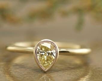 Bezel Set Pear Shape Fancy Yellow Diamond Ring in 14k Yellow Gold, 0.63ct Pear Diamond, 1.6mm Band, Diamond Solitaire Engagement, Emery