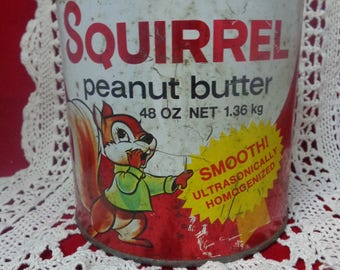 Old Squirrel Peanut Butter Tin Used Old Tin Squirrel Peanut Butter Tin Vintage Peanut Butter tin