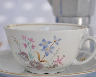 Pair of tea cups with saucer in German porcelain years ' 60