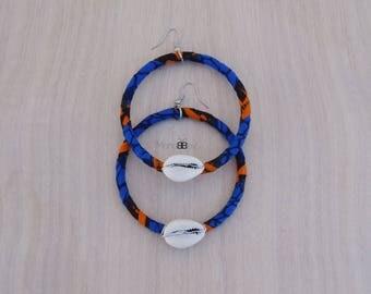 African Fabric Hoop Earrings, Textile Earrings, African Jewellery, Bijoux Wax, Bijoux Africains, Tribal Earrings