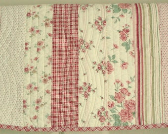 Vintage Shabby Quilted Pillow Sham Pink Roses Pillow Cover Standard Pillow Striped Pillow Sham Red and Pink Carole Little Cottage Chic