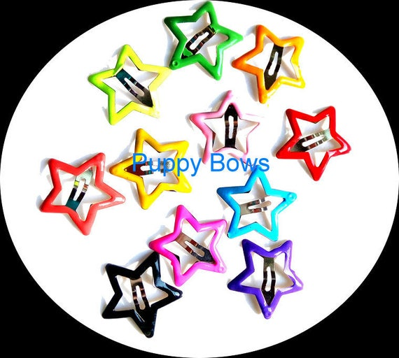 NEW! Puppy Bows ~wee tiny Barrette pet hair  snap clip  stars, hearts and more shapes bow Maltese ~Usa seller
