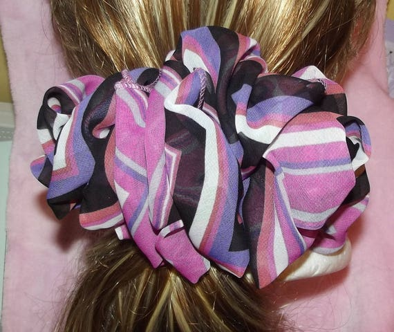 Becky Bows ~OOAK ROSETTE Barrette Hand crafted giant huge Scarf BIG hair bow Women or Girls brown purple stripes