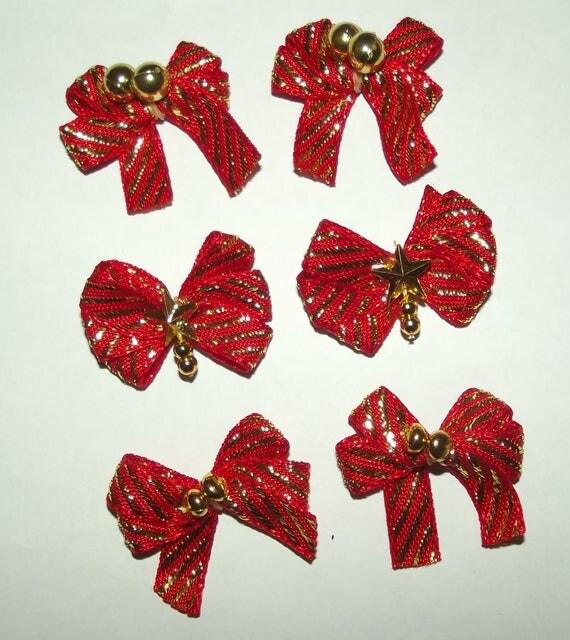 Puppy Bows ~6 red gold stripes EVERYDAY BOWS Yorkie Maltese Shih Tzu ~Usa seller (fb81)