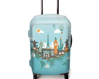 Luckiplus Luggage Cover Spandex Suitcase Cover  Fits 18-32 Inch Luggage