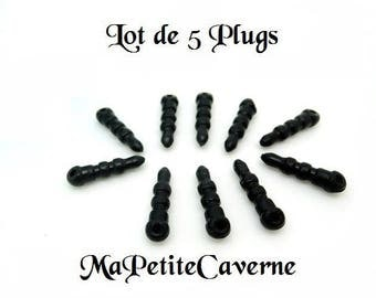 Set of 5 anti dust plugs black