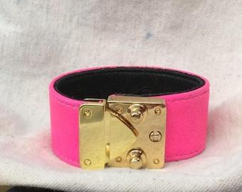 CC SKYE Hot Pink Wide Leather Goldtone Hardware Bracelet
