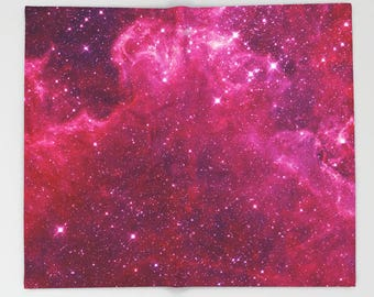 Pink Galaxy Throw Blanket  -  Stars and nebulas, fuchsia, stars,  night sky,  blanket throw  -   astronomy, for girls, outer space