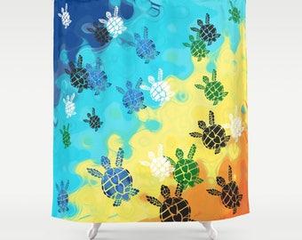 Baby Sea Turtle Shower Curtain - bright, colorful -  swimming turtles, Surf, beach, surfer, Bold, kids coastal bathroom
