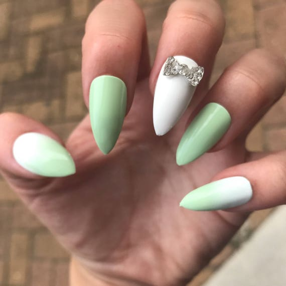 Mint stiletto nails ombre fake nails rhinestone bow pointy like this item prinsesfo Image collections