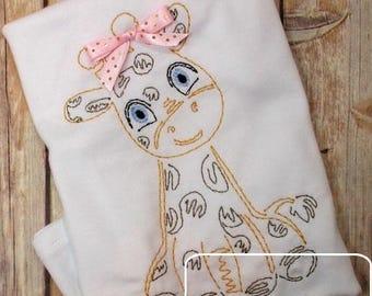 Baby Giraffe color work embroidery design - giraffe embroidery design - baby embroidery design - vintage embroidery design - circus