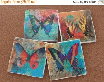 SALE Set of 4 Tumbled Marble Tile Coasters - Bold Butterflies