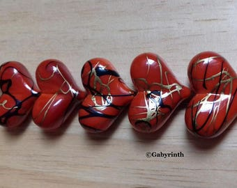 Acrylic hearts red fancy beads