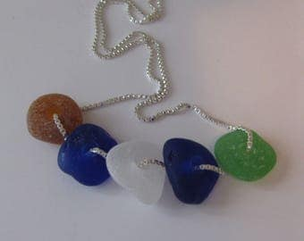 seaglass beads necklace, drilled sea glass necklace, SeaglassWithATwist