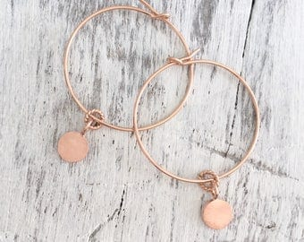 Minimal Earrings Rose Gold Minimal Hoops Rose Gold Understated Rose Gold Hoops Round Earrings Rose Gold Large Rose Gold Hoops Disc Jewelry
