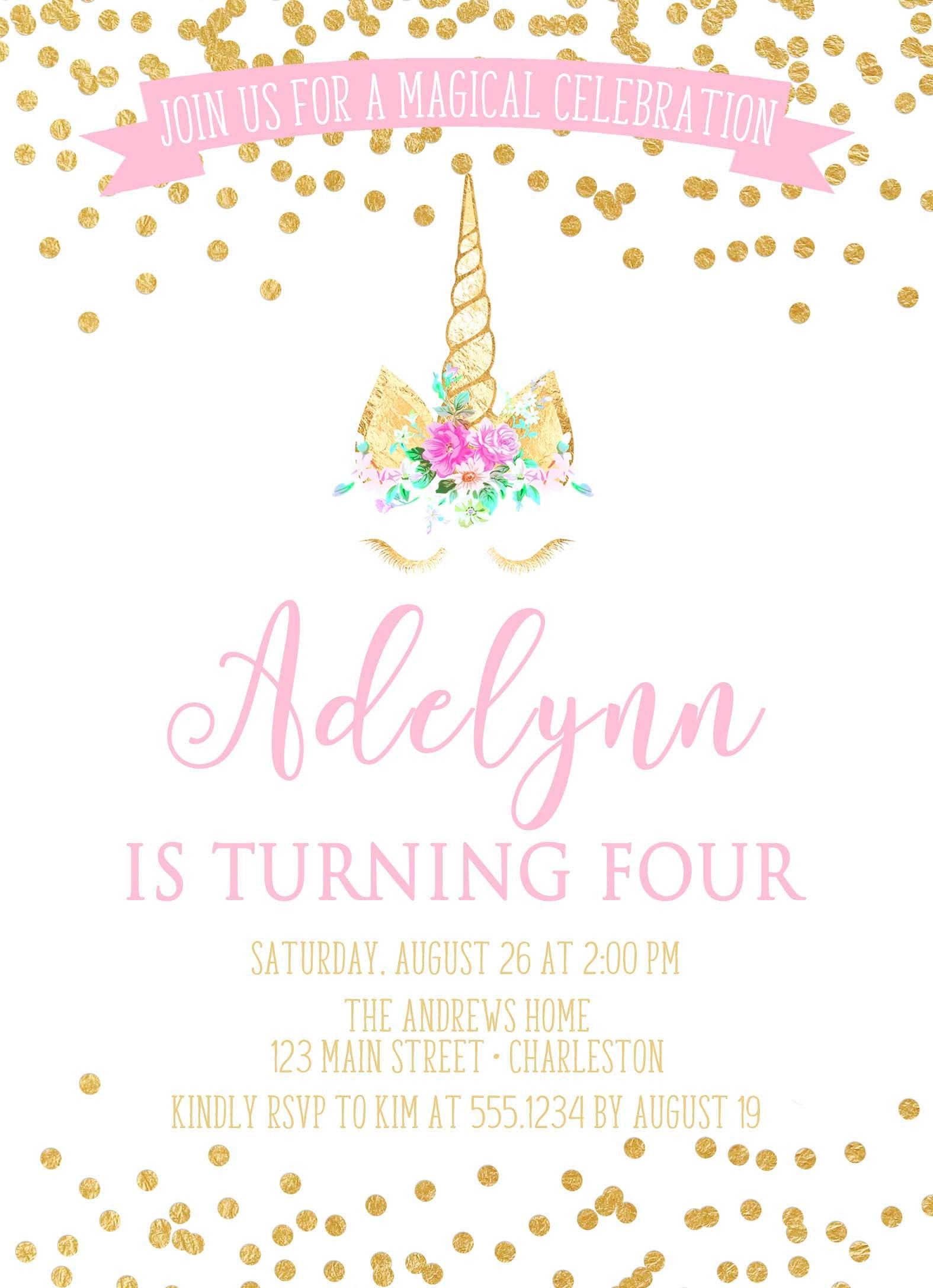 Unicorm Birthday Invitation, Unicorn Invitation, Unicorn Invite, Girl Birthday, Pink and Gold ...
