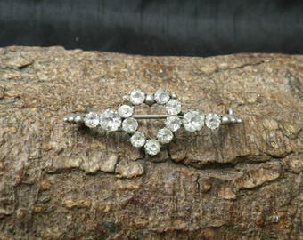 Vintage Sterling Silver White Paste Rhinestone Heart Brooch