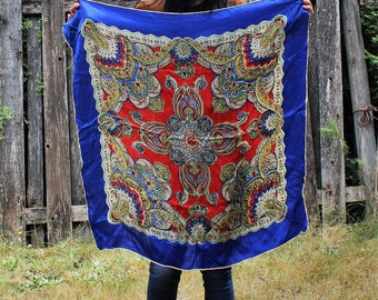 Vintage. Beautiful. Silky/blue/red/square/scarf. Gorgeous scarf!