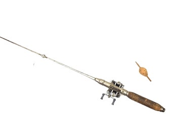 Antique Fishing Rod and Reel 1930s Metal American Fishing Rod and Reel Vintage Fishing Pole Old One Piece Metal American Fishing Rod