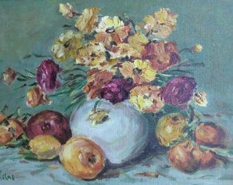 Old Vintage Artist Signed Impressionist Still Life Floral Fruit Flowers Painting