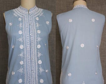 ON SALE 1970s style Asian Inspired Powder Blue Embroidered Sleeveless Shirt