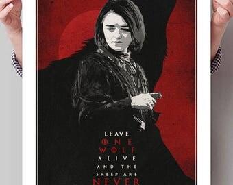 "GAME OF THRONES Inspired Arya Stark ""One Wolf"" Minimalist Poster Print - 13""x19"" (33x48 cm)"