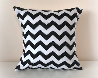 "Black and White Chevron Monochrome Cushion Cover Pillow Nursery 16"" 12"""