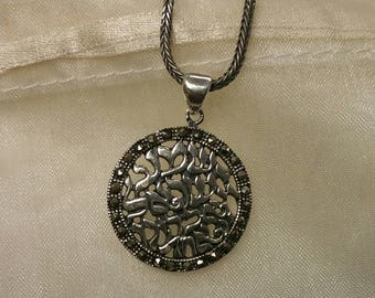 Shema Y'Israel round Silver Pendant with Marcasite Ring, Shema necklace
