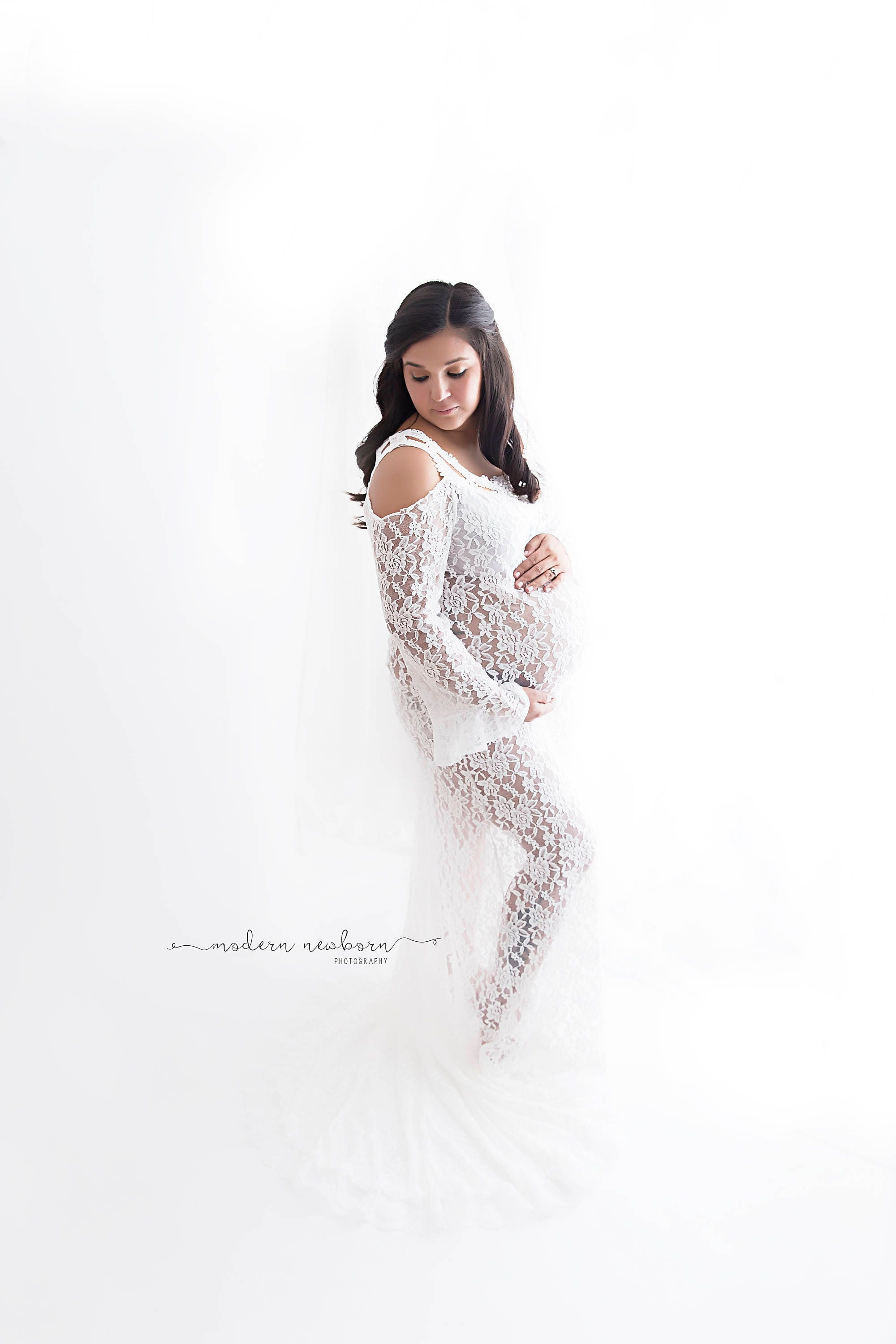 Lace maternity dress for photo shoot off white lace one details stretch lace maternity dress ombrellifo Choice Image