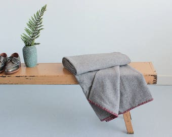 Vintage Grey and Red Wool Textured Blanket