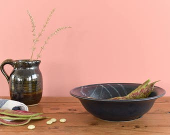 Vintage Rustic Ceramic Stoneware Studio Pottery Indigo Blue Patterned Glazed Bowl
