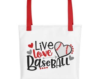 Baseball Tote bag, Live Love Baseball Tote Bag