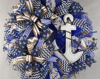 Nautical White Anchor Mesh Ruffle Wreath, Summer Wreath, Anchor Wreath, Nautical Decor