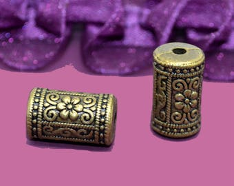 10 bronze 17X10mm patterned tube beads