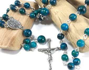 Saphire Jasper Rosary; Blue Rosary; Blue Green Rosary; Gemstone Rosary; Natural Stone Rosary, Traditional Rosary, Catholic Prayer Beads