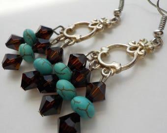 Jewelry SALE, Black and Turquoise Beads, Turquoise Earrings, Dangle Earrings, Beaded Earrings, Beaded Jewelry, Boho Earrings, Chunky