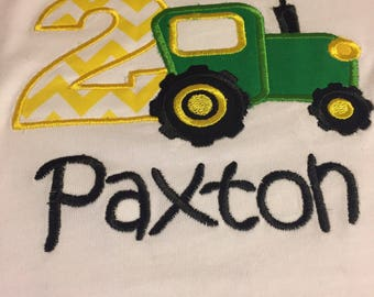 Tractor Applique Birthday Tee Shirt